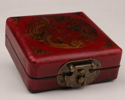 Red Leather Dragon & Phoenix Jewelry Box Old Chinese Handmade Gift