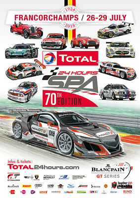 Plakat 24h Spa Francorchamps 2018 Blancpain GT Series Poster