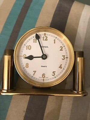 Swiza Quartz Brass Desk Clock Mantle Collectable Must Have Look