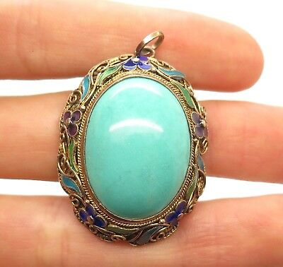 Antique China Silver Handcrafted Filigree Enamel Flowers Sky Blue Jade Pendant