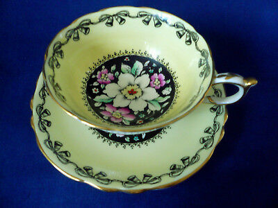 Paragon England Yellow ~ MIXED FLORAL on BLACK CENTER ~ Painted Teacup tea cup