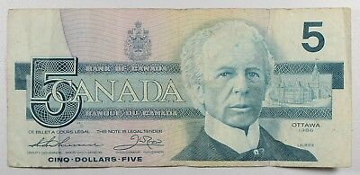 (Vl247)  1986 Canada 5 Dollars Bank Note