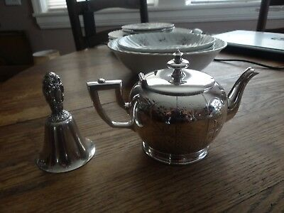 Simpson Hall and Miller silver plated small tea Pot 1869 - with silver bell