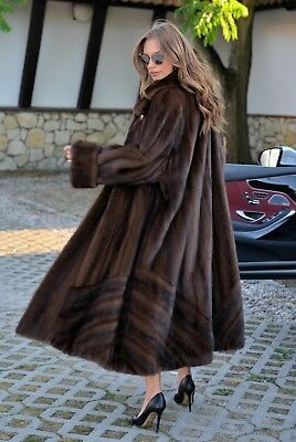 New Royal Mink Fur Long Swinger Coat Class Of Sable Chinchilla Fox Poncho Jacket
