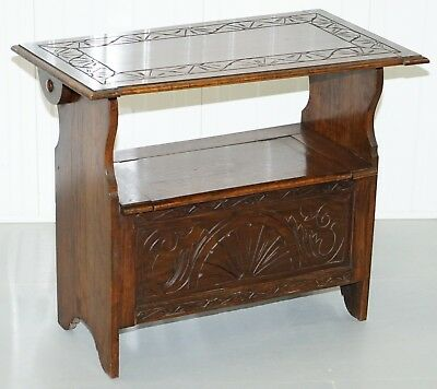 Rare Metamorphic Solid English Oak Monks Bench With Tilt Top Table And Storage