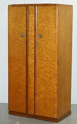 Stunning Circa 1925 Birds Eye Maple Tudor Rose Art Deco Wardrobe Part Of A Suite