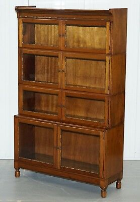 Cira 1930 Mahogany Modular Minty Oxford Antique Stacking Legal Bookcase Bobbin