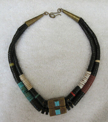 Very Nice Old Navajo Necklace & Pendant--Nr!