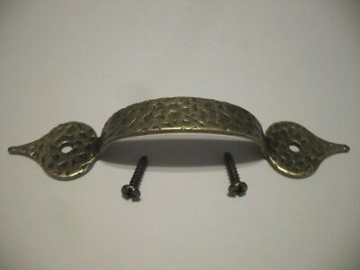Vtg NOS Antique English Hammered BRASS Plated Drawer Pull or Cabinet Door Handle