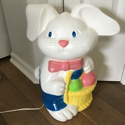 Vintage Easter Plastic Bunny Rabbit Blow Mold Yard Light Decor Canada EXCELLENT