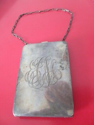 Antique STERLING - COIN / COMPACT w/ MIRROR PURSE CASE w/ CHAIN - Old Patina