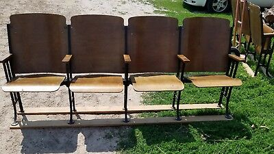 Antique Art Deco C1930s Cinema Theatre Seats with Aisle End Panels row of 4