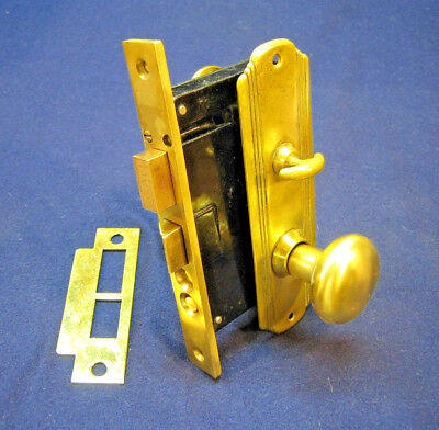 Antique Entry Mortise Lock Set w/ Cylinder & Key Brass Plates - Russwin #11248