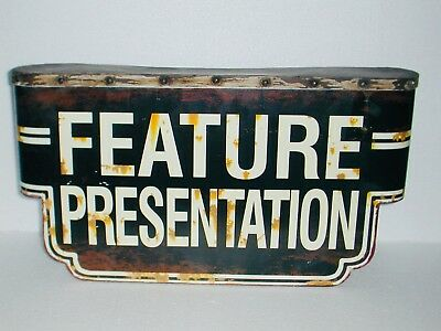 Retro LG Metal Tin Hanging Wall Sign FEATURE PRESENTATION MOVIE THEATER MARQUEE