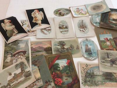 Lot of 21 Victorian Trade Cards, Birds, Ships, Children, Christmas & More