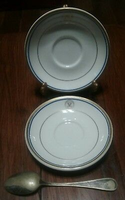 "2 Dept of The Navy - U.S.S. Silverstein 1992 Reunion 6"" Plates & Old USN Spoon"