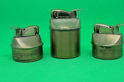 Three Table Lighter Inserts by Evans. Brass or Brass Plated.
