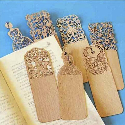 Stylish 3x Retro Hollow Out Wooden Book Marker For Books Markers Wood Bookend 1x