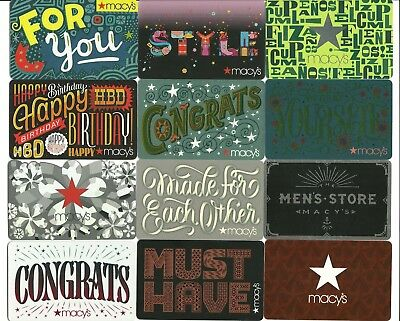 Lot 12 Macys Gift Cards No Value Collectible Congrats Style Cupleanos Mens