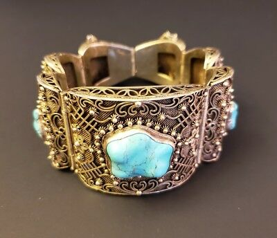 Large Antique Chinese Sterling Silver Gold Wash Turquoise Nugget Bracelet