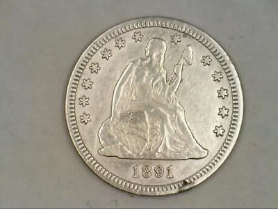 ***HIGH GRADE*** 1891 Seated Liberty Quarter 90% SILVER (CC2986)