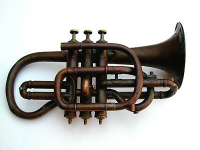 Antique Bohland & Fuchs, Circa 1890, Copper Cornet Stenciled By Dyers - MUST SEE