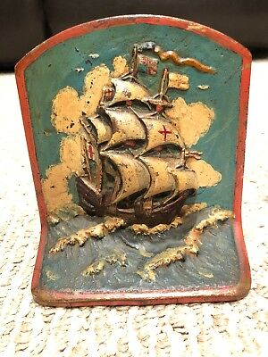 Rare Painted Antique Pair Of Vintage Ship Design Bookends