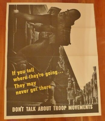 Original WWII Poster DON'T TALK ABOUT TROOP MOVEMENTS