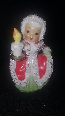 Vintage Napco ? Porcelain Christmas Angel Bell Candle Figure Spaghetti Trim