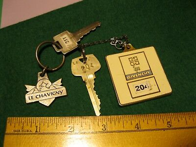 Old VINTAGE Le Chavigny  Hotel Deschambault Quebec KEY FOB +Givenchy Spa 204 key