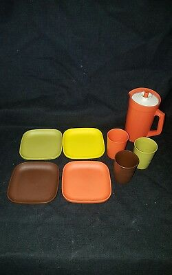 9 Pc. Vintage Tupperware Tuppertoys Childs Toy Play Dish Set, Pitcher Cup Bowls