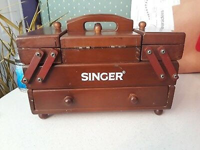 Antique small wooden vintage singer sewing box