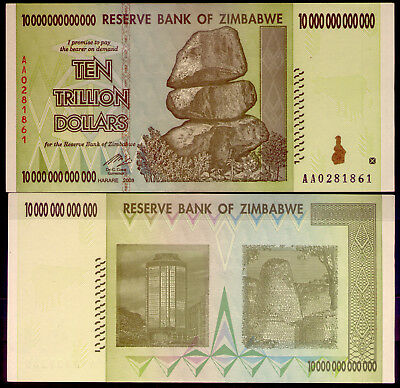 ZIMBABWE: 10 TRILLION DOLLAR NOTE -AA ($10 000000000000) UNC and LOW RESERVE