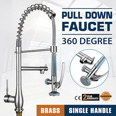 Single Handle Pull Down Sink Faucet W/ Lock Sprayer Commercial  Wipe-clean