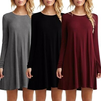 US Women Long Sleeve Crew Neck Plain Dress Tunic Top T-Shirt Casual Loose Blouse