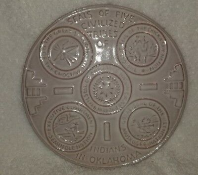 """Frankoma Tile Trivet Seals of 5 Tribes of Indians in Oklahoma Round White 6 1/2"""""""