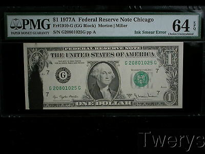 1977A Federal Reserve Note Chicago $1 Ink Smear Error Pmg 64 Choice Unc Epq
