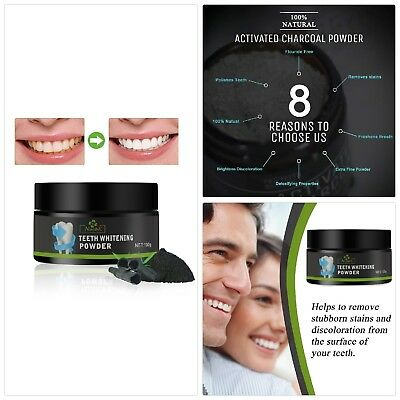 Aiooy Poudre de Blanchiment des Dents Activated Charcoal Teeth Whitening 100% Na