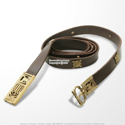 Genuine Leather Viking Belt with Brass Fittings Medieval Costume Reenactment