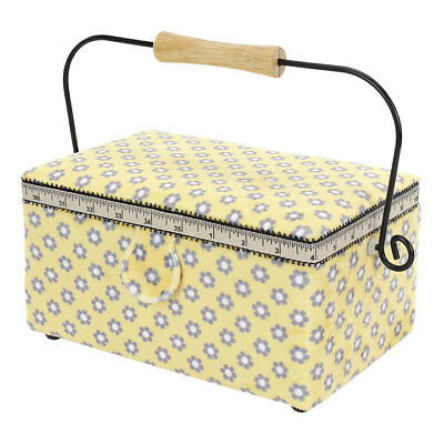 Small Rectangle Sewing Basket | Yellow | 26 x 13 x 18.5cm | Birch 010910