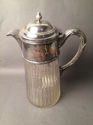 Paris French Victor Saglier Ornate Silver & Glass Water Pitcher