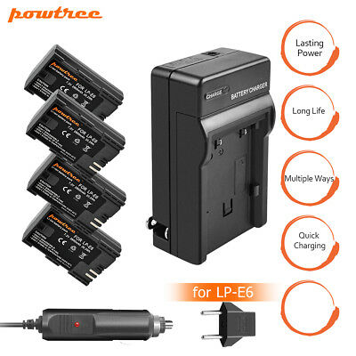 Powtree LP-E6 Battery and Charger for Canon EOS 80D 6D 70D 60D 5D Mark II III WM