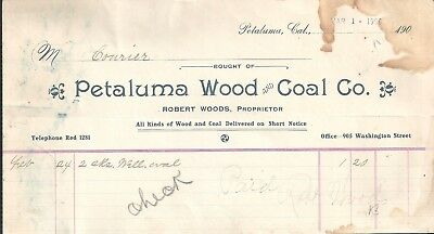 Petaluma wood and coal Co. Detailed list 1906 US