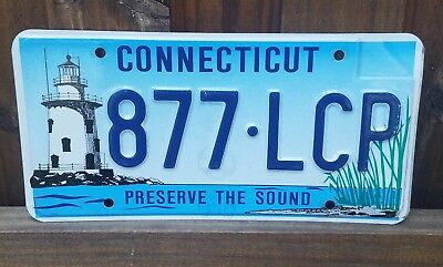 Connecticut CT 2005 license plate Preserve the Sound 877 LCP Lighthouse Graphics