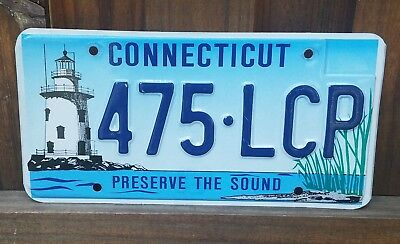 Connecticut CT 2001 license plate Preserve the Sound 475 LCP Lighthouse Graphics