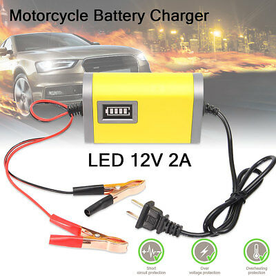 DC 12V 2A Voiture Auto Moto Intelligent Automatique Batterie Chargeur Charge