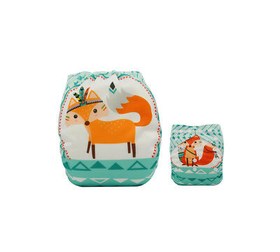 Modern Cloth Reusable Washable Baby Nappy Diaper & Insert, Cute Green Tribal Fox