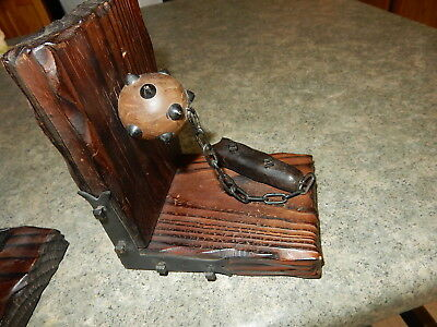 Vintage  Medieval wood book ends with machete and spiked ball & chain Goth