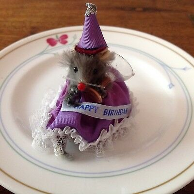 "Vintage ""Original Fur Toys"" W. Germany Mice Mouse Figure Happy Birthday"