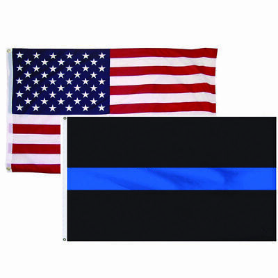 2 PACK 3'x5' Ft USA FLAG THIN BLUE LINE POLICE LAW ENFORCEMENT + AMERICAN FLAG